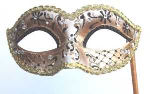 Gold and Black Masquerade Mask - Mask on a Stick | Masks and Tiaras